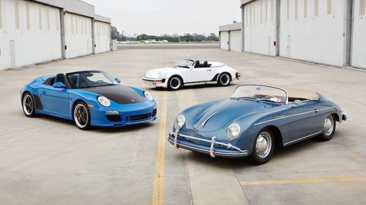 Porsche Speedsters: 2011 Porsche 997 Speedster, 1989 Porsche 911 Speedster and 1957 Porsche 356 A Speedster