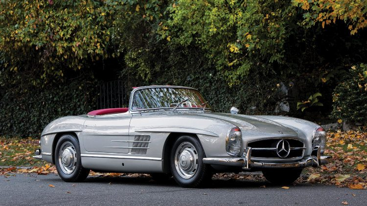 Silver 1958 Mercedes Benz 300 SL Roadster