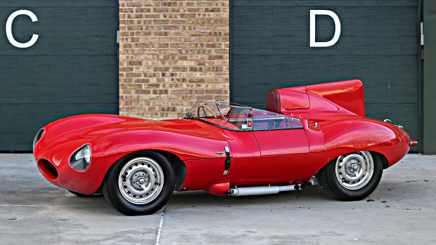red 1956 Jaguar D-Type