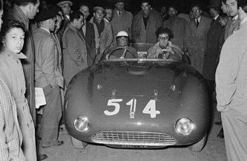Driver Alberico Cacciari alongside R.H. Bill Mason in chassis 0272 at the 1953 Mille Miglia.