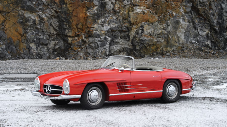 Red 1957 Mercedes Benz 300 SL Roadster