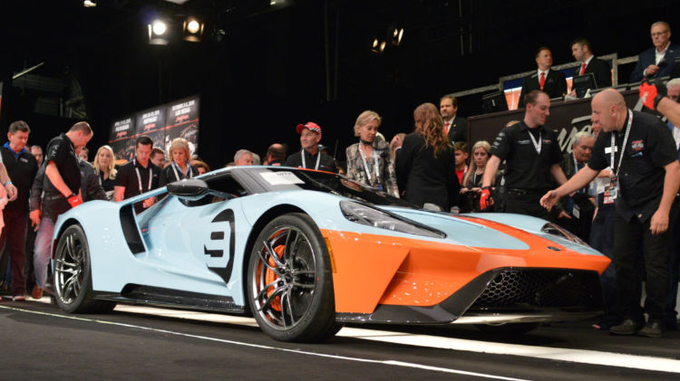 2019 Ford GT Heritage Edition VIN 001 (Lot #3012) sold for $2.5 million, with 100 percent of the hammer price benefiting United Way for Southeastern Michigan