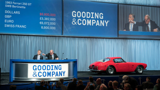 The 1963 Ferrari 250 GT SWB Berlinetta with coachwork by Scaglietti, chassis 4037 GT, sold for $7,595,000 as the top result of the Gooding Scottsdale 2019 auction and the top result of all the Scottsdale, Arizona, 2019 sales.