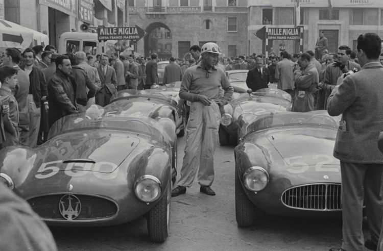 Luigi Musso with chassis number 2078 prior to the start of the 1954 Mille Miglia (Credit – Courtesy of The Revs Institute for Automotive Research)