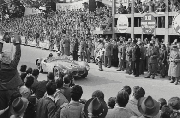 Luigi Musso behind the wheel of the A6GCS at the 1954 Mille Miglia, where he finished 2nd in class and 3rd overall (Courtesy of The Revs Institute for Automotive Research)