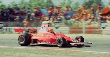 Niki Lauda driving the 1975 Ferrari 312T during the French Grand Prix.