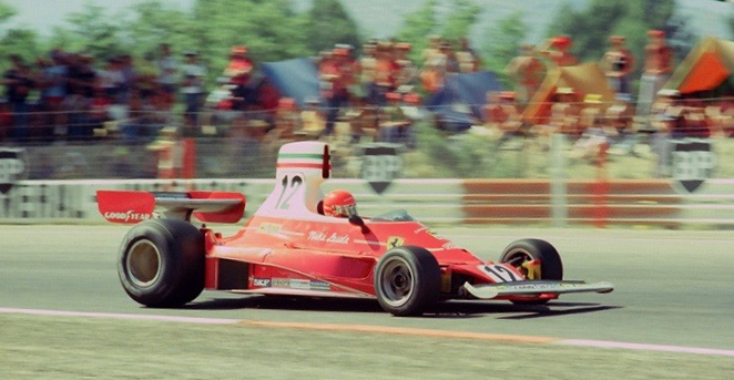 Niki Lauda driving the 1975 Ferrari 312T during the French Grand Prix.