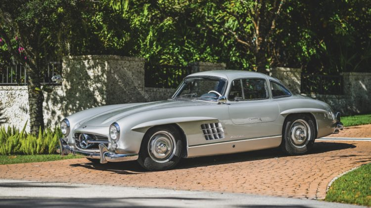 Silver 1955 Mercedes-Benz 300 SL Gullwing
