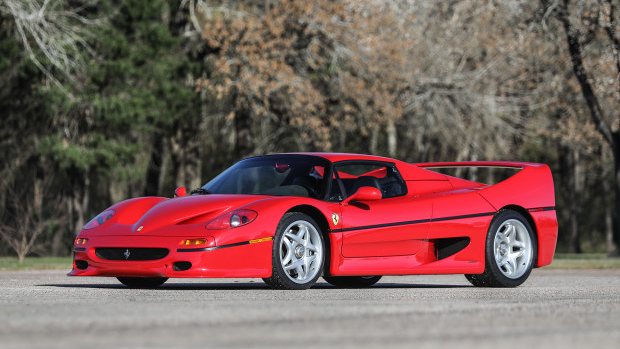 Red 1995 Ferrari F50 ($3,200,000 – $3,600,000) offered at Gooding Scottsdale 2020.