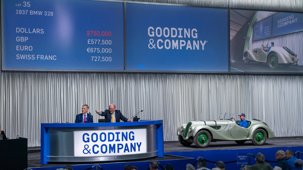 President David Gooding and Auctioneer Charlie Ross sell the 1937 BMW 328 for $830,000 at Gooding Scottsdale 2020.