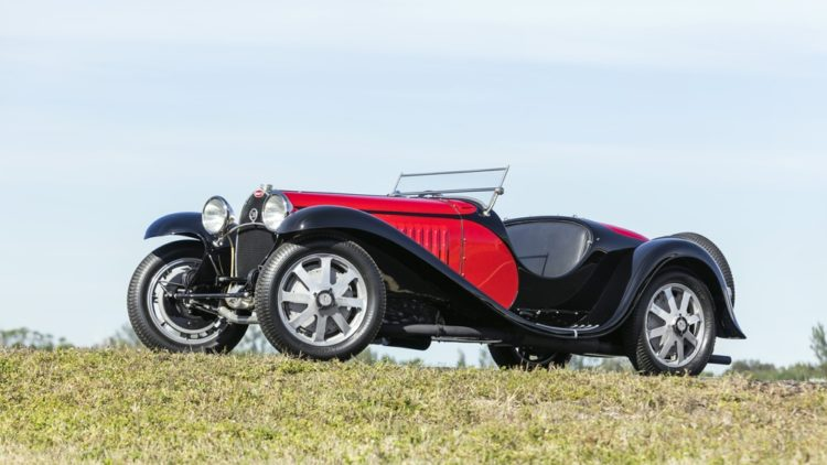 Red and black 1932 Bugatti Type 55 Super Sport Roadster on offer at Bonhams Amelia Island Sale 2020