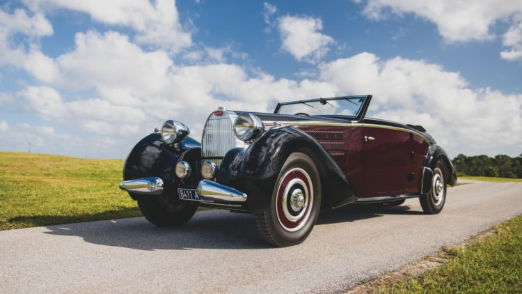 1938 Bugatti Type 57 Cabriolet by D'Ieteren on offer at RM Sotheby's Amelia Island 2020 Sale