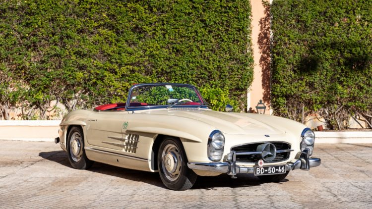 Ivory 1957 Mercedes-Benz 300 SL Roadster sold at RM Sotheby's Paris 2020 auction