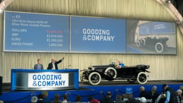President David Gooding and Auctioneer Charlie Ross sell the 1914 Rolls-Royce 40/50 HP Silver Ghost