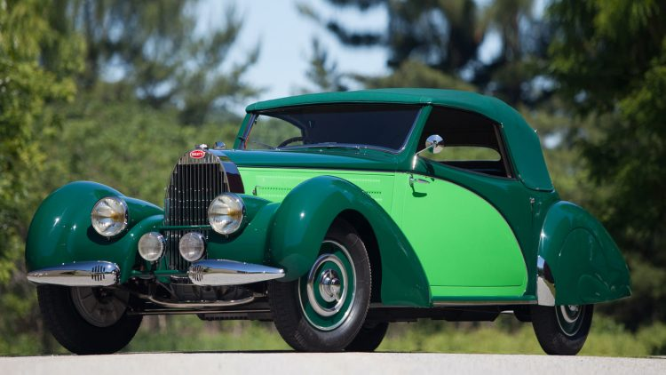 Green 1938 Bugatti Type 57 Cabriolet with coachwork by Letourneur et Marchand,