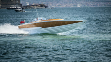 "1968 Sonny Levi designed powerboat – the ""G. Cinquanta"" G50, created new for charismatic Fiat boss, Gianni Agnelli."
