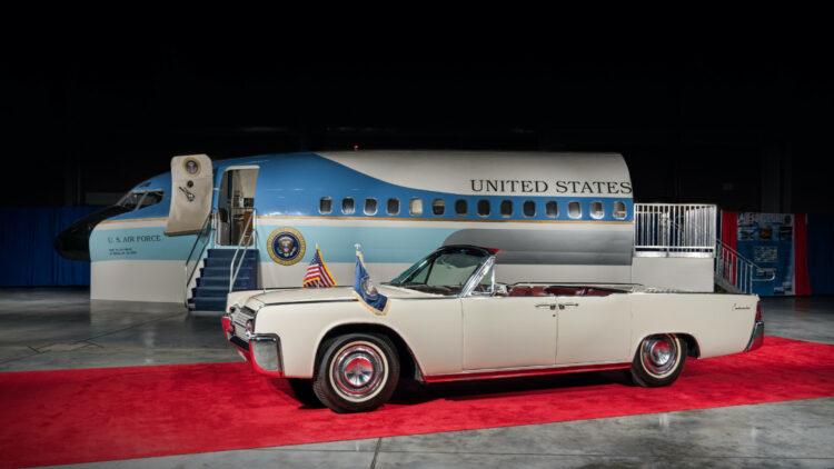 JFK 1963 Lincoln Continental Convertible Sedan and Air Force One on offer at Bonhams New York 2020