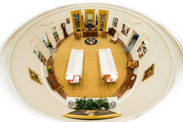 The Oval Office is a full-scale facsimile of the Oval Office