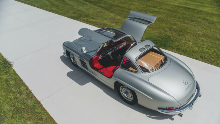 Silver 1955 Mercedes-Benz 300 SL Gullwing open door from above rear sold at RM Sotheby's Elkhart Sale 2020