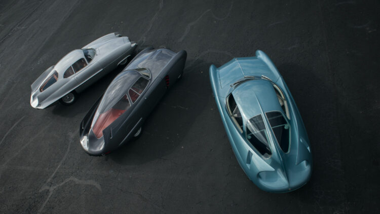 Alfa Romeo Berlina Aerodinamica Tecnica (B.A.T.) Concept Cars from above rear on offer at Sotheby's New York Contemporary Art Evening Sale 2020