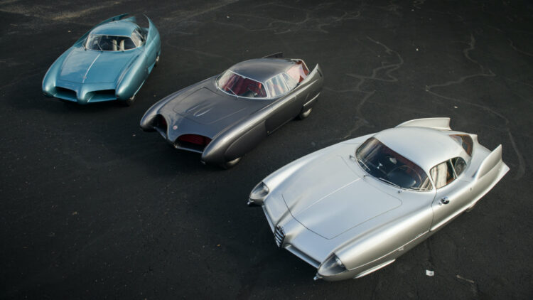 Alfa Romeo Berlina Aerodinamica Tecnica (B.A.T.) Concept Cars from above on offer at Sotheby's New York Contemporary Art Evening Sale 2020
