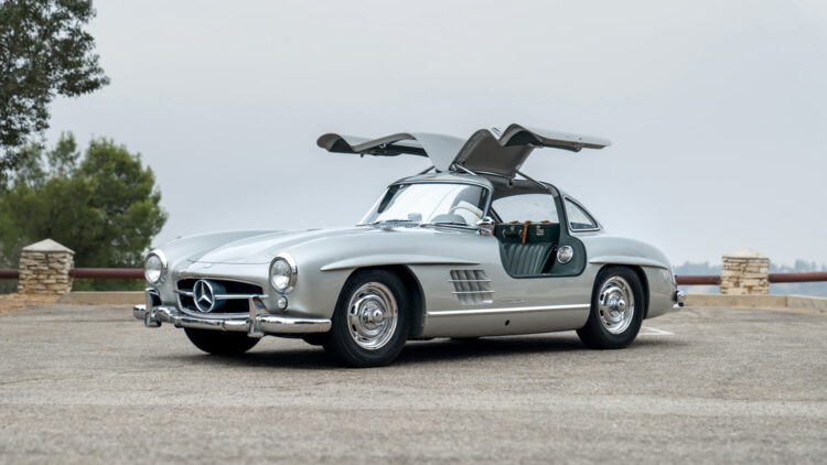 Sliver open doors 1957 Mercedes-Benz 300 SL Gullwing on offer in Gooding Geared Online October 2020 Sale