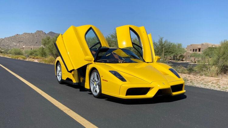 Yellow 2003 Ferrari Enzo with doors open RM Sotheby's Arizona (Scottsdale) 2021 Sale