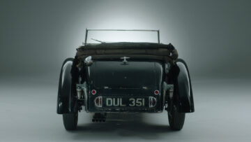 Rear 1937 Bugatti Type 57S with Grand Routier coachwork by Corsa on sale at Bonhams London 2021.