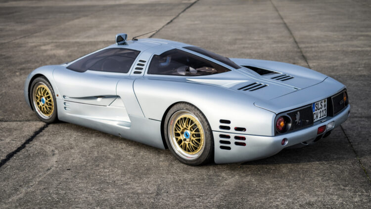 Silver 1993 Isdera Commendatore 112i on offer at the Paris 2021 RM Sotheby's classic car auction