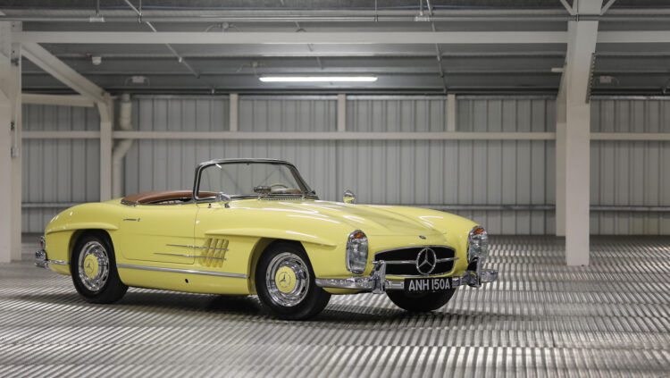 yellow 1963 Mercedes-Benz 300 SL on offer at Gooding Geared Online European Sporting & Historic Collection, London, Feb 2021