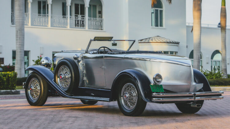 Rear 1929 Duesenberg Model J 'Disappearing Top' Torpedo Convertible Coupe by Murphy on sale at the RM Sotheby's Amelia Island 2021 classic car auction