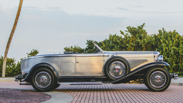Profile 1929 Duesenberg Model J 'Disappearing Top' Torpedo Convertible Coupe by Murphy on sale at the RM Sotheby's Amelia Island 2021 classic car auction