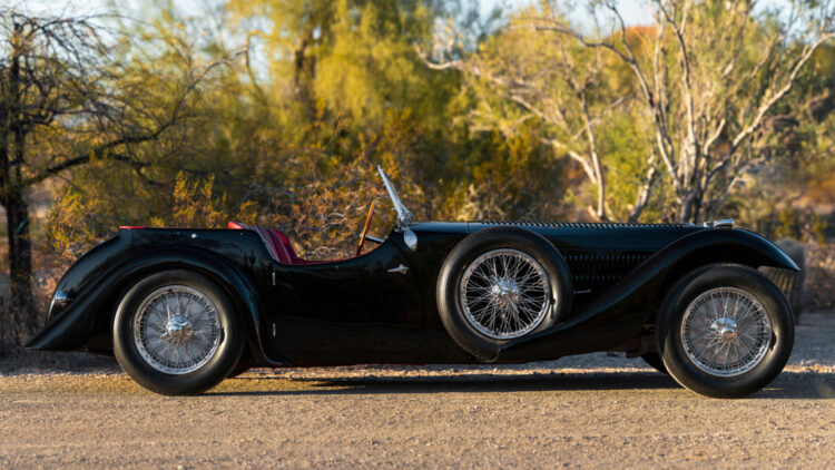 profile 1937 Bugatti Type 57SC Tourer by Corsica on offer at RM Sotheby's Arizona Scottsdale 2021 sale