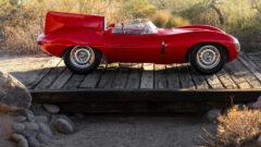 Side profile red 1955 Jaguar D-Type on Offer at RM Sotheby's Scottsdale sale 2021