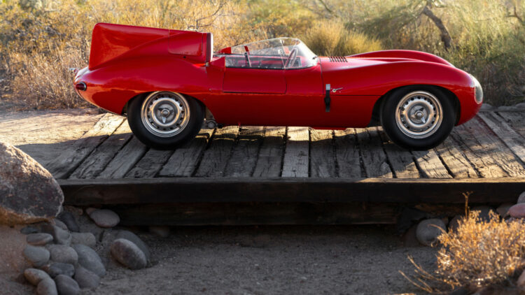 Side profile red 1955 Jaguar D-Type on Offer at RM Sotheby's Scottsdale sale 2021