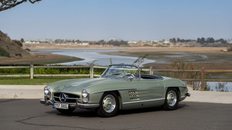 Green 1957 Mercedes-Benz 300 SL Roadster on offer at RM Sotheby's Scottsdale Arizona classic car auction 2021