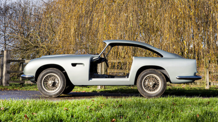 A (dismantled) 1960 Aston Martin DB4GT on offer at Bonhams London Legend of the Road Sale 2021