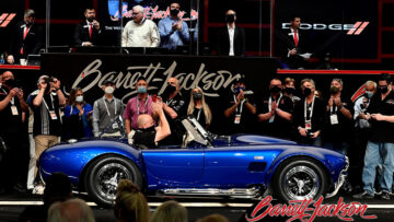 Carroll Shelby's personal 1966 Shelby Cobra 427 Super Snake CSX 3015 sold for $5.5 million as the top result at Barrett-Jackson's 50th Scottsdale, Arizona, collector car auction in March 2021.