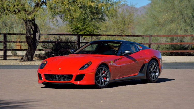 Red 2011 Ferrari 599 GTO on offer in the Mecum Glendale Arizona Sale 2021