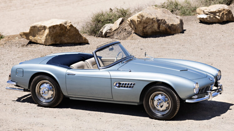 Silver 1957 BMW 507 Series II Roadster sold at Gooding Geared Online May 2021 Auction