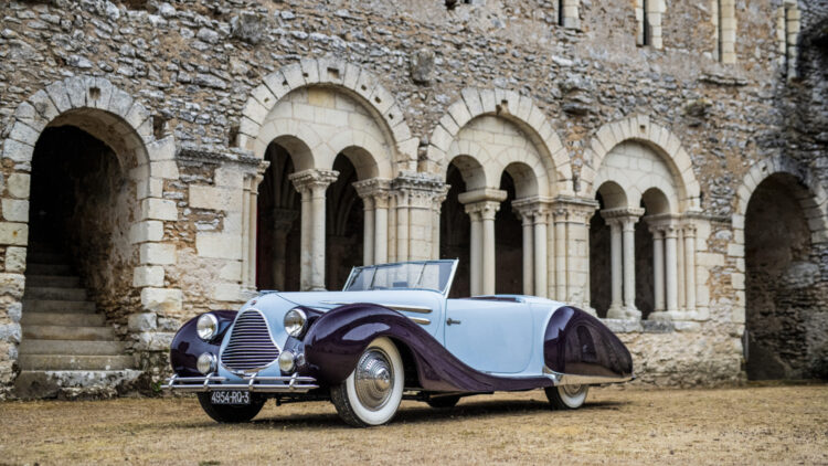 Side front 1948 Talbot-Lago T26 Record Sport Cabriolet Décapotable on offer at Bonhams Quail Lodge 2021 sale.