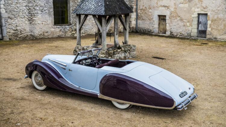 SIde rear 1948 Talbot-Lago T26 Record Sport Cabriolet Décapotable on offer at Bonhams Quail Lodge 2021 sale.