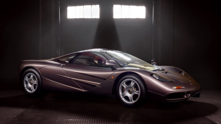 Metallic brown 1995 McLaren F1 on sale at the Gooding Pebble Beach 2021 classic car auction