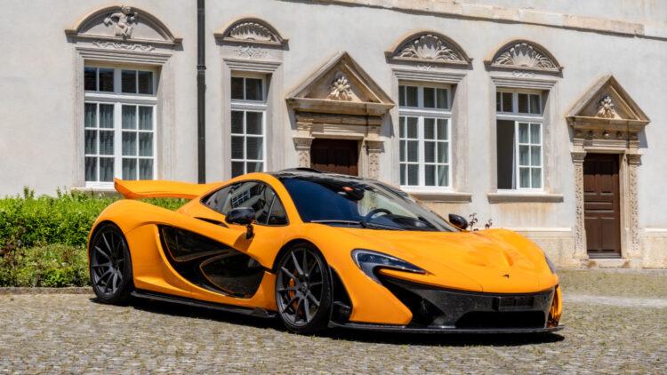 Orange 2014 McLaren P1 on sale at the Bonhams Bonmont 2021 classic car auction