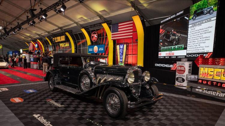1929 Duesenberg Model J Murphy Convertible Sedan among the top 12 results at the Monterey Mecum 2021 sale