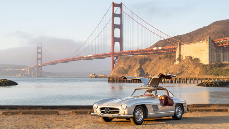 1955 Mercedes-Benz 300 SL Gullwing top results at the Bonhams Audrain Concours Sale 2021 auction in Newport Rhode Island